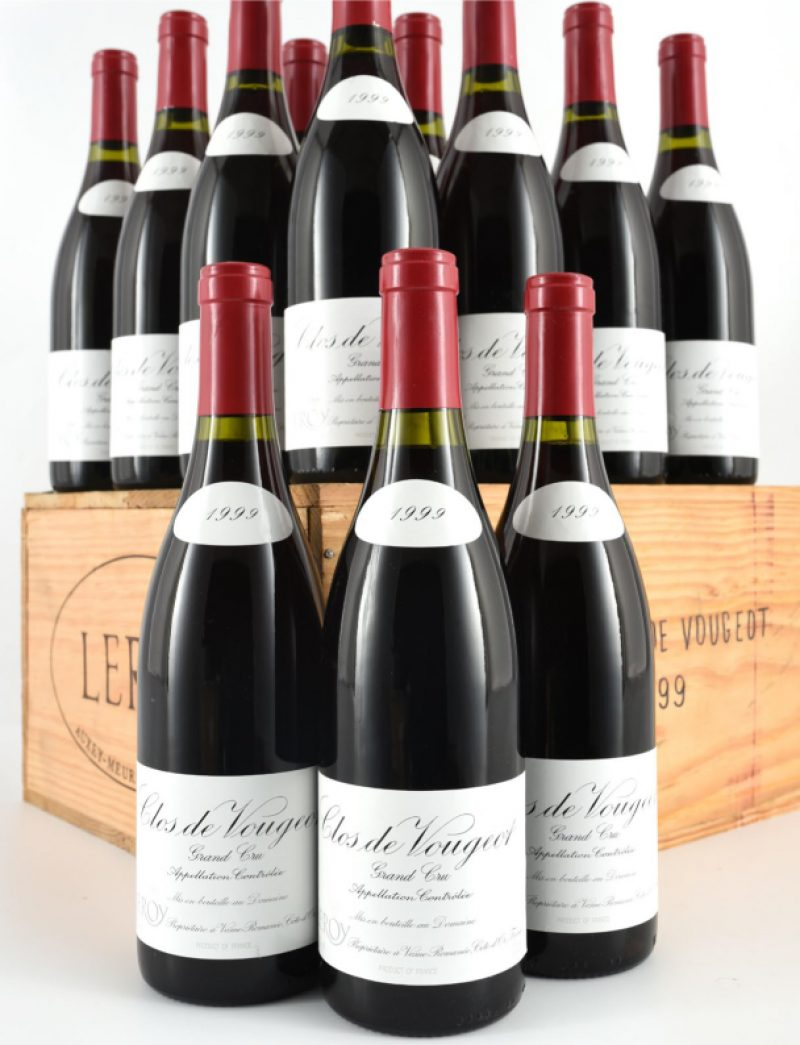 Lot 271: 12 bottles 1999 Domaine Leroy Clos Vougeot in OWC
