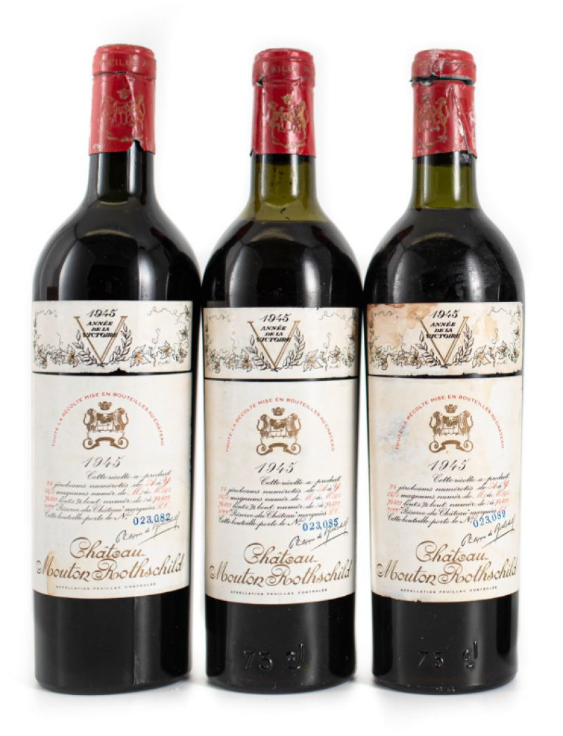 Lot 556: 3 bottles 1945 Chateau Mouton Rothschild