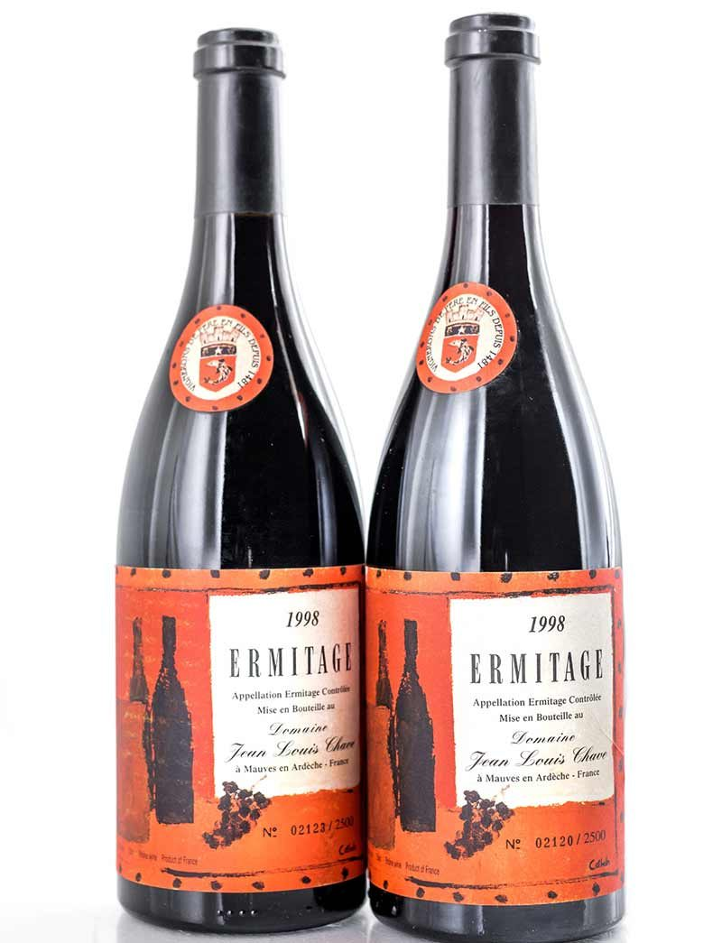 Lot 485: 2 bottles 1998 J.L. Chave Ermitage Cuvee Cathelin